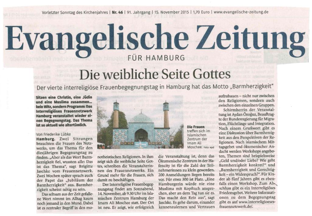 Bericht in der Evangelischen Kirchenzeitung vom 15. November 2015