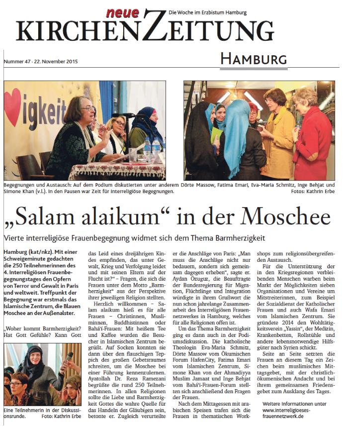 Bericht in der Neuen KirchenZeitung Hamburg vom 22. November 2015